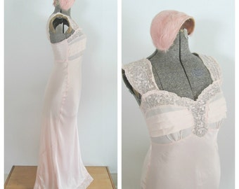 Gatsby Pink Satin Lace Gown Vintage Hollywood Starlet Wedding Lingerie Godfried