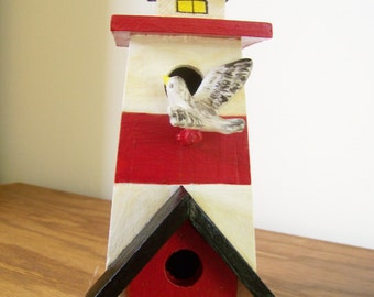 Lighthouse Birdhouse with Seashells & Seagull - Nautical/Beach Decor - Gift for Men - Decorative Hand Painted Wood Red/White/Black