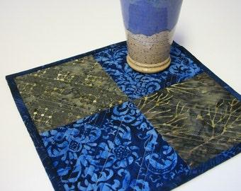 Batik Snack Mat Blue Brown Mug Rug Quilted Coaster Quiltsy Handmade FREE U.S. Shipping