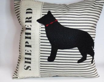 Felt German Shepherd Dog Pillow, Decorative Felt. German Shepherd Dog Silhouette Throw Pillow