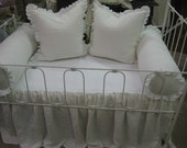 Bumperless Washed Linen Crib Bedding--Non-Traditional Nursery Bedding-Crib Skirt- Pair of Ruffled Bolsters and Pair of 22x22 Ruffled Shams
