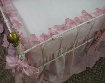 "Ruffled Crib Bedding in Petal Pink Washed Linen-2"" Ruffled Bumpers-Sash Style Ties---Extra Long Storybook Crib Skirt"