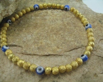 Evil Eye Bracelet, Gold Beaded Bracelet, Beaded Bangle Bracelet, Simple Gold Bead Bracelet, Blue Evil Eye and Gold Beads Stretch Bracelet
