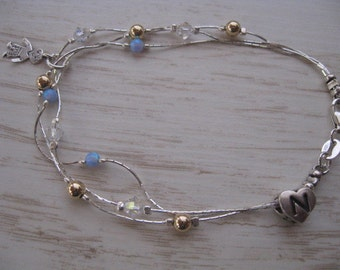 Layered Jewelry, Personalized layered Bracelet with Initial Heart Pendant and One Child charm Opal bracelet