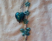 Teal and White Survivor Dangle with Butterfly, Flowers and Heart