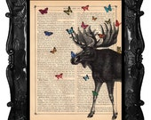 Black Moose art moose with butterflies on an antique book page original moose mixed media moose dictionary print wall art