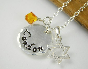 Star of David Name Necklace, Bar Mitzvah Gift Idea, Bat Mitzvah Gift Idea, Sterling Silver