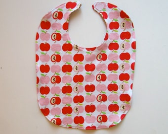 Bib, organic reversible bib, apples, stripes, red, pink, handmade, baby gift, shower gift, girl