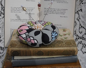 Mod Pincushion with Retro Jewelry and Fancy Pins