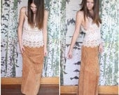 vintage tan suede festival skirt - Butterscotch
