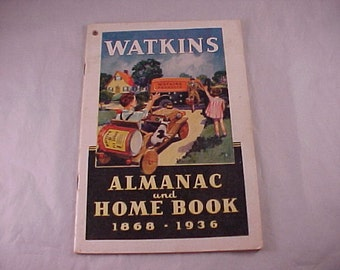 SALE 1868 to 1936 Watkins Almanac and Home Book Booklet Paper Ephemera Advertising