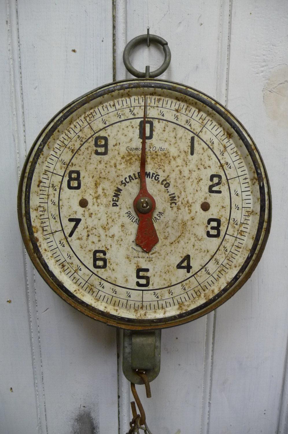Antique Hanging Scale Blue Metal Produce 20 Lb By