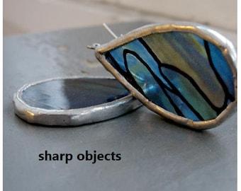 BLUE VICEROY - unique handmade teardrop shape stained glass framed silver mod EARRINGS