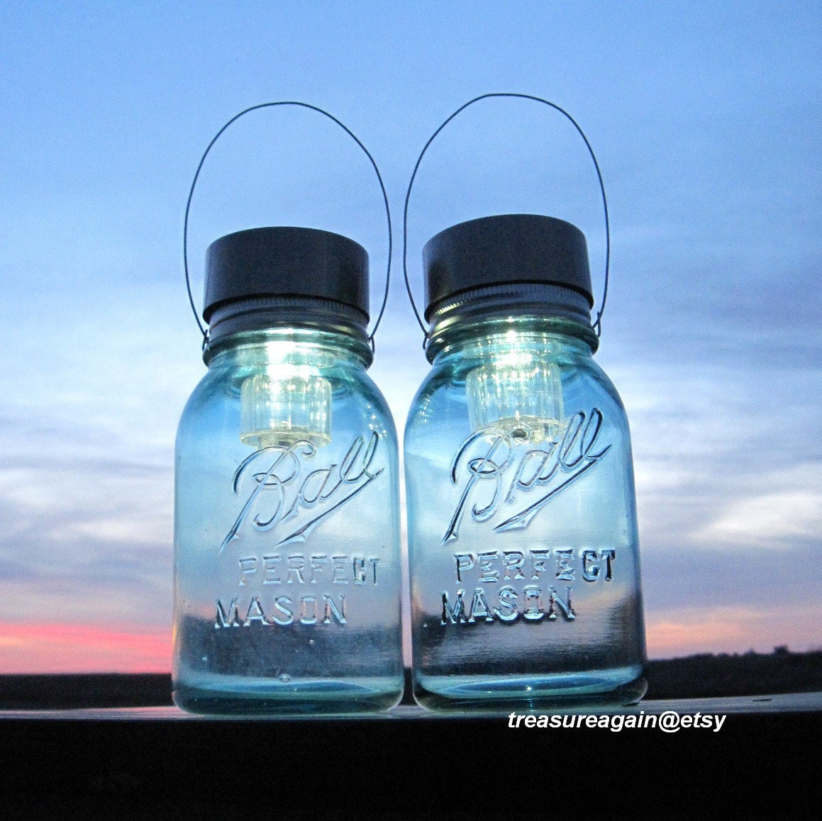 Solar Blue Mason Jar Lights 2 Not So Perfect by treasureagain