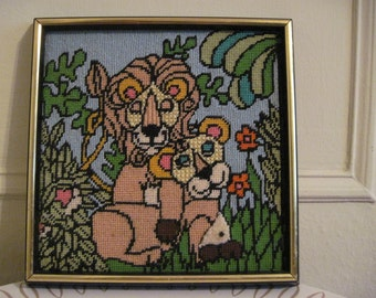 Lion Pride - 1970s Framed Needlepoint Picture - vintage art - big cats for childs room or nursery