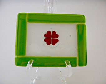 Green Border Tray with Copper Clover Detail