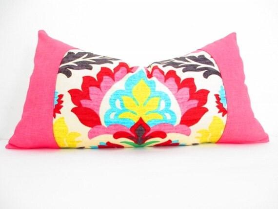 Bohemian Chic Decorative Designer Pillow Cover, Long Lumbar Pillow, Orange, Red, Olive Green and Yellow, Hot Pink Pillow Cushion
