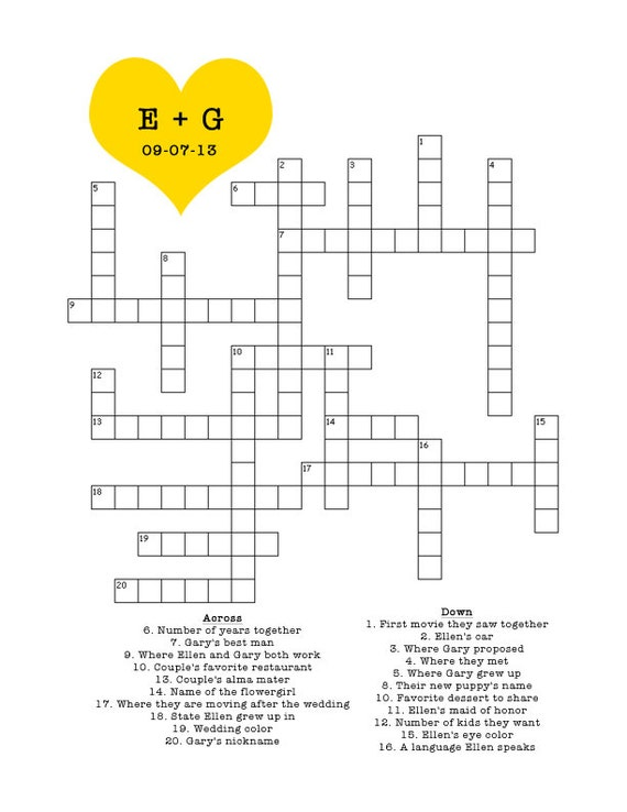 Crossword Puzzle For Baby Shower Part - 27: Items Similar To Custom Crossword Puzzle For Wedding, Bridal Shower, Baby  Shower On Etsy