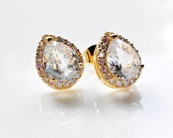 Cubic Zirconia Stud Post Gold Earrings, Crystal Bridal Wedding Earrings,Prom, Bridesmaid earrings
