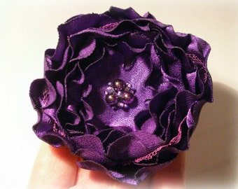 Violet-Eggplant Flower Pin Or Hair Clip
