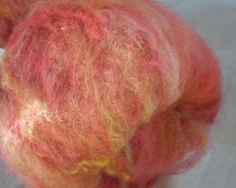 Alpaca Wool Batt for spinning red, pink with yellow 3.8 oz Pink Sunset