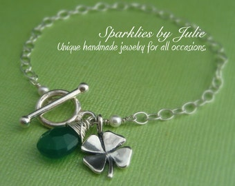 Lucky Bracelet - Sterling Silver Four Leaf Clover and Wire Wrapped Emerald Onyx Chalcedony Charm Bracelet, Toggle Clasp