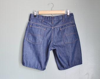 10 Dollar Sale Vintage 70s JCPenney Super Denim Shorts Women M L - Dark Wash