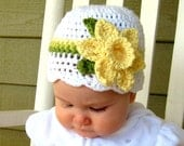 Crochet Daffodil Hat, Baby Daffodil Hat, Newborn Photo Prop, Spring Photo Prop, Spring Baby Hat, Easter Bonnet, Flower Photo Prop, EasterHat
