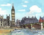 London Westminster Bridge Big Ben art print from an original watercolor painting