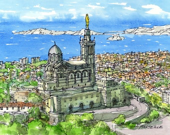 Marseille France art print from an original watercolor painting