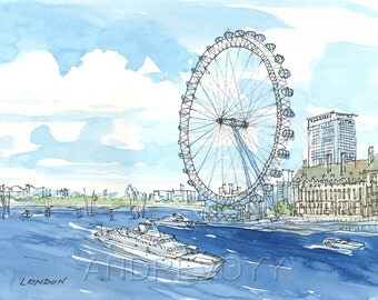 London Eye Thames art print from an original watercolor painting