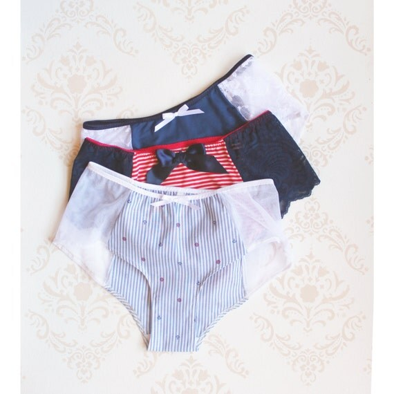 Set of Three Nautical Hipster Panties for your Inner Pin-Up Handmade to Order by Ohhh Lulu