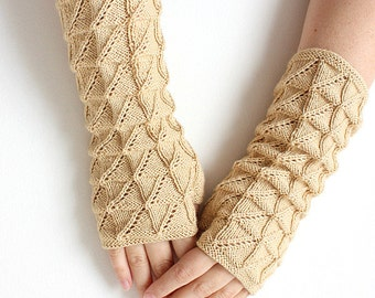 Knitting Pattern (PDF file not finished item)- Lace Mitts ( Adult sizes S, M, L)