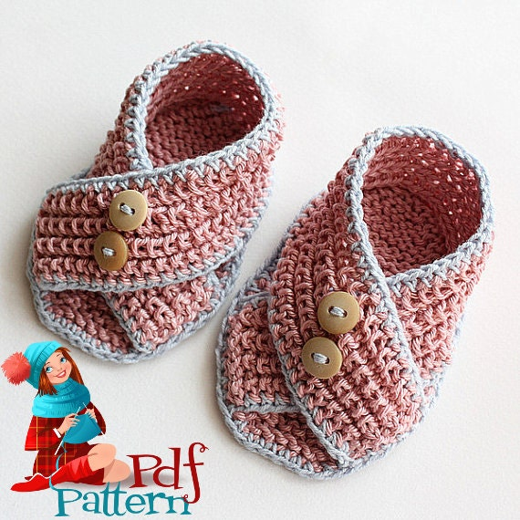 Knitting Pattern (PDF file) Baby Sandals Piccolini (for sizes 0-3/3-6/6-12 months)