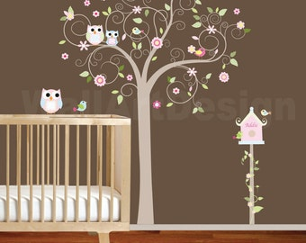Vinyl Wall Decal  Swirl Tree with Pink Flowers Birds Birdhouse Nursery Vinyl Wall Decal Sticker