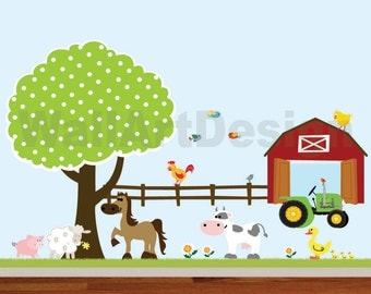 Vinyl Wall Decals Farm Set Tree with Barn,tractor,fence,horse,cow,pig,lamb,ducks,nursery playroom wall sticker mural