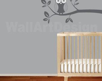 Vinyl Wall Decal  Modern Vinyl Wall Decal Owl Branch Nursery Decals