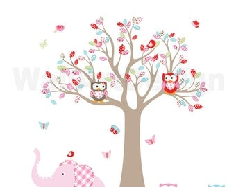 VACATION SALE-All orders ship Aug 15th!!Tree Decal Nursery Wall Stickers Colorful Tree Owl Wall Decal Elephant