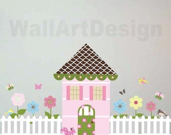 Girls Dollhouse Set Butterflies Flower Birds Picket Fence Vinyl Wall Sticker Art Design