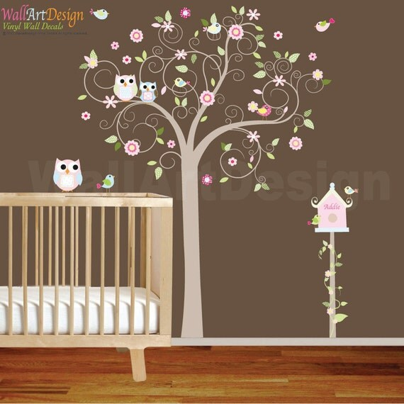 VACATION SALE-All orders ship Aug 15th!! Swirl Tree with Pink Flowers Birds Birdhouse Nursery Vinyl Wall Decal Sticker