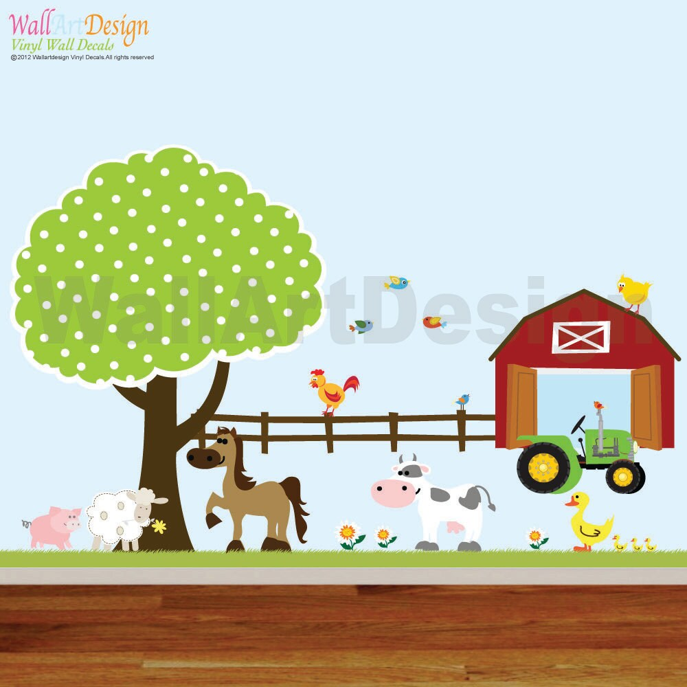Vinyl wall decals farm set tree with for Barnyard wall mural