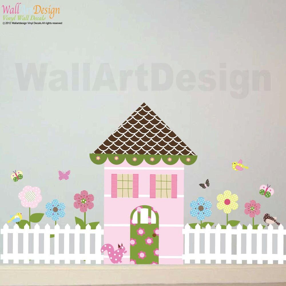girls dollhouse set butterflies flower birds picket fence zoom