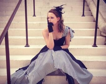 Gunne Sax Black and White Stripe Gothic Formal Gown- Small - Black Wedding Dress, Prom, Goth, Steampunk, Circus