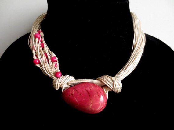 Dark Pink Tagua Nut Beads, Organic Linen Necklace