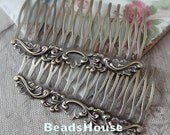 2pcs  Antique Bronze Plated Brass Filigree Hair Comb Setting-12Pins NICKEL FREE