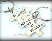 Personalized Couples Keychain Set - Puzzle Piece Keychains - Hand Stamped Customized - You Complete Me - You Had Me At Hello