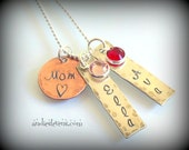 Hand Stamped Mom Necklace - Personalized Sterling Silver Tags - Copper Charm - Swarovski Birthstone Crystals - Mixed Metals