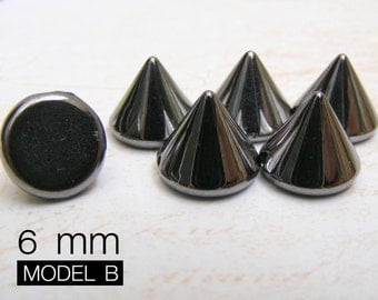 200pcs 6mm GUNMETAL Acrylic Cone Spikes Beads Charms Pendants with hole