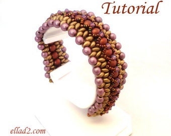Tutorial Twin X bracelet - Beading tutorial, instant download, PDF