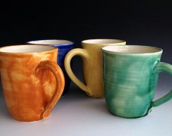 set of four colorful mugs coffee mugs four colors wheel thrown stoneware mug set - Colorful Mugs
